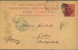 "1896, 3 Cents Stationery Card From ""BELIZE BRITISH HIONDURAS"" With Upright Oval ""K65"" To Gotha - Honduras Britannico (...-1970)"