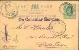 "1902,  1/2 Penny Stat. Card Within CAPETOWN ""PASSED BY CENSOR"", Sender German Generalconsulate -Boerwar - Capo Di Buona Speranza (1853-1904)"