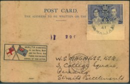 1941, Card From VALETTA To Penang, Straits Settlements With Egytina Censor - Malta
