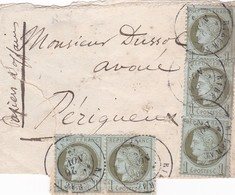 """N° 50 Paire N° 50 X 3 S / Bd Manuscrit """" Papiers D' Affaires """"  T.P. Ob T 17 Riberac 22 Nov 76, Pour Périgueux - 1849-1876: Classic Period"""