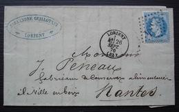 Lorient 26 Septembre 1870 Alexandre Guillotaux , Lettre Pour Nantes - 1849-1876: Période Classique
