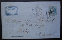 Lorient 1869 H Piédallu Bel En Tête , Lettre Pour Orthe (Mayenne) - 1849-1876: Période Classique