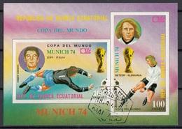 Guinea Equatoriale 1974 Bf.108B FIFA RIMET Zoff Netzer Sheet Imperf. CTO Coppa Del Mondo - Coppa Del Mondo