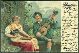 """ZITHER Cithare Cither  1900 Farbige AK """" Paar Mit Zither Und Laute """" Bedarfsgelaufen - Musik Und Musikanten"""