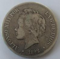 5 Pesetas ALFONSO XIII 1892 - Primeras Acuñaciones