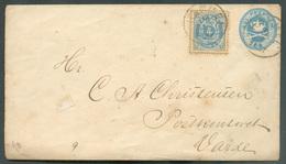 4 öre Add. Franking On Postal Stationery Enveloppe 4o. Cancel. From HAMMEL 10/1 1881 To Varde - 15380 - Interi Postali