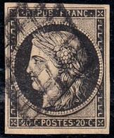 FRANCIA 1849 Y&T N.3 20C BLACK  VFU - 1849-1850 Ceres