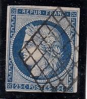 FRANCIA 1849 Y&T N.4  25C BLUE  VFU - 1849-1850 Cérès