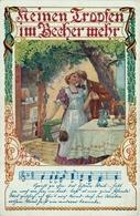 """LIEDERKARTE ~1913 Bund Der Deutschen In Niederösterreich Künstlerkarte Ezel """" Keinen Tropfen Im Becher Mehr... """" - Musik Und Musikanten"""