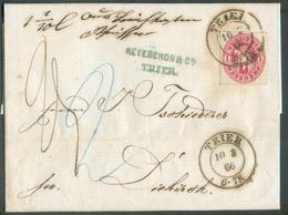 N°17 - 1 SilbGr. Rouge Obl. Dc TRIER Sur Lettre Du 10 Mars 1866 Vers Diekirch (GD De Luxembourg) + Manuscrit (taxée) 25 - Prusse