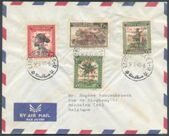 Série CROIX-ROUGE Obl. Sc LEOPOLDVILLE Sur Lettre Par Avion Du 17-3-1945 Vers Machelen - 15387 - 1923-44: Briefe U. Dokumente