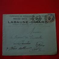 LETTRE FABRIQUE DE POTERIES DE GRES FINS LABAUNE GIRARD PARAY LE MONIAL SAONE ET LOIRE 1901 - 1877-1920: Période Semi Moderne