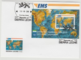 Sierra Leone 2019 Mi. ? FDC IMPERF Souvenir Sheet Joint Issue 20e Anniversaire EMS 20 Years Emission Commune E.M.S. UPU - Sierra Leone (1961-...)