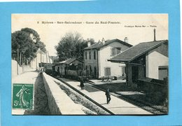 San Salvadour-hyères-la Gare -train Et Voyageurs Sur Le Quai -a Voyagé En1911 édition Bar - Autres Communes
