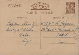 Entier Carte Postale CP Iris Sans Valeur CAD Faible Dakar Sénégal Fev 1941 Storch A4i - Cartes Postales Types Et TSC (avant 1995)