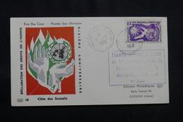 CÔTE DES SOMALIS - Enveloppe FDC En 1958, Droits De L 'Homme - L 56686 - Côte Française Des Somalis (1894-1967)