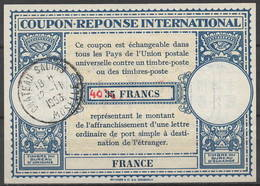 FRANCE Lo15 ms. 40 / 35 FRANCS Int. Reply Coupon Reponse IRC IAS Antwortschein O CHATEAU SALINS MOSELLE 12.11.53 - Coupons-réponse