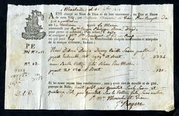 Connaissement - Lettre De Voiture Ou De Roulage 1814 - Marseille Pour Agde (Hérault) - Bill Of Lading - Timbres Fiscaux - France