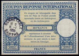 FRANCE Lo16n ms. 45 / 40 FRANCSInt. Reply Coupon Reponse Antwortschein IRC IAS O BONNETABLE SARTHE 11.1.58  ( 16mm ) - Coupons-réponse