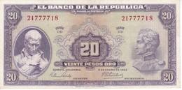 BILLETE DE COLOMBIA DE 20 PESOS DE ORO DEL AÑO 1963 CALIDAD EBC (XF) (BANK NOTE) - Colombia