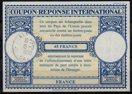 FRANCE Lo16n 45 FRANCS International Reply Coupon Reponse Antwortschein IRC IAS o ALENCON ORNE 15.3.58 - Coupons-réponse