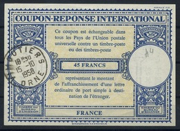 FRANCE Lo16n 45 FRANCS International Reply Coupon Reponse Antwortschein IRC IAS o VIMOUTIERS ORNE 15.10.58 - Coupons-réponse