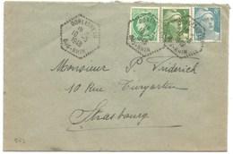 B69 - DORLISHEIM - 1949 - Timbre GANDON + MAZELIN - - Marcophilie (Lettres)