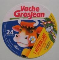 "Etiquette Fromage Fondu - Vache Grosjean - 24 Portions Pub ""DENVER Au Ski"" FR3    A Voir ! - Cheese"