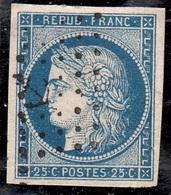 """FRANCIA 1849  CERES  UNIF. N.4  25C  BLU  VFU ANNULLO """" ANGRE """" - 1849-1850 Cérès"""