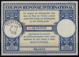 FRANCE Lo16n 70 / 45 FRANCS International Reply Coupon Reponse Antwortschein IRC IAS o PRAYSSAC LOT 6.3.59 - Coupons-réponse