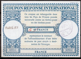FRANCE / RUSSIALo16n70 / 45 FRANCS Int. Reply Coupon Reponse IAS IRC Antwortschein O PARIS XV Redeemed In MOCKBA - Coupons-réponse