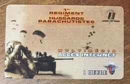 ARMÉE 1er RÉGIMENT DE HUSSARDS PARACHUTISTE CARTE PASSMAN 1H WIFI WI FI INTERNET TÉLÉCARTE PHONECARD - Armée