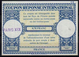 FRANCE Lo17 0,70 FRANC International Reply Coupon Reponse Antwortschein IRC IAS o PARIS XIX - Coupons-réponse
