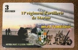 ARMÉE 11eme REGIMENT D'ARTILERIE DE MARINE CARTE PASSMAN 3H WIFI WI FI INTERNET TÉLÉCARTE PHONECARD - Armée