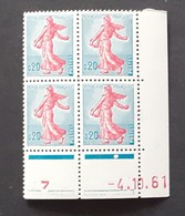 Semeuse 0 F. 20 Turquoise Et Rose 1233 En Bloc De 4 Coin Daté - 1903-60 Semeuse Lignée
