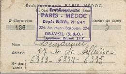 Carte Professionnelle Etablissements Paris- Médoc - Cartes