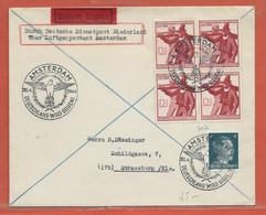 ALLEMAGNE OCCUPATION PAYS BAS LETTRE DE SERVICE DE 1944 DE AMSTERDAM POUR STRASBOURG - Occupation 1938-45