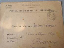 Lettre A En Tete Poste Télégraphes Et Téléphone Pour Le Bureau A Bordeaux  Cachet Lesperon Landes - Telegrafi E Telefoni
