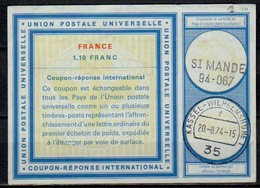 FRANCE Vi201,10 FRANC InternationalReply Coupon Reponse IAS IRC Antwortschein O ST. MANDE 94-067 Redeemed Germany - Coupons-réponse