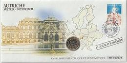 AUTRICHE - 3 FDC PHILATELIE ET NUMISMATIQUE  - 1€ - 2€ X 2 - 2005/2007 - Autriche