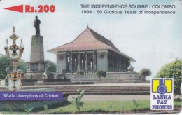 (36SRLD) TARJETA DE SRY LANKA DE Rs.200 THE INDEPENDENCE SQUARE COLOMBO - Sri Lanka (Ceylon)