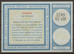 FRANCE Vi21 1,10 Franc International Reply Coupon Reponse Antwortschein IAS IRC O LENS 62-498 - Coupons-réponse