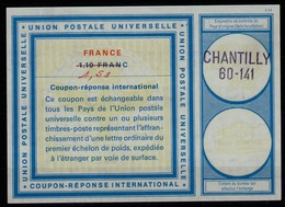 FRANCE Vi21ms. 1,50 /1,10 FRANC International Reply Coupon Reponse IAS IRC Antwortschein O CHANTILLY 60-141 - Coupons-réponse
