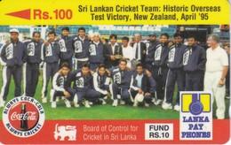 (14SRLA) TARJETA DE SRY LANKA DE Rs.100 CRICKET TEAM - COCA-COLA - COKE - Sri Lanka (Ceylon)
