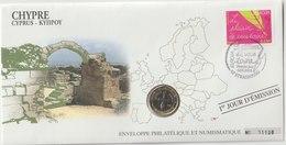 CHYPRE - 3 FDC PHILATELIE ET NUMISMATIQUE  - 1€ - 2€ X 2 - 2008/2012 - Chipre
