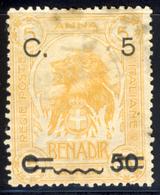 1916 - Somalia  Sovrastampato Con Nuovo Valore 5 C. Su 50 C. Su 5 Anna (vedi Descrizione) 1 Immagine - Somalia