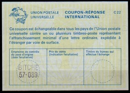 FRANCE  La22 International Reply Coupon Reponse Antwortschein IAS IRC O BITCHE 57-089 / Moselle  ( Bitsch ) - Coupons-réponse
