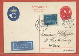 SUEDE ENTIER POSTAL DE 1938 DE STOCKHOLM POUR  PARIS FRANCE - Postal Stationery
