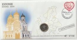 ESTONIE - 2 FDC PHILATELIE ET NUMISMATIQUE  - 1€ - 2€ X 1 - 2012 - Estonie
