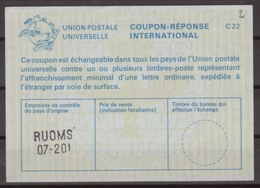 FRANCE La24  International Reply Coupon Reponse Antwortschein IAS IRC O RUOMS 07-201 ( ARDECHE ) - Coupons-réponse